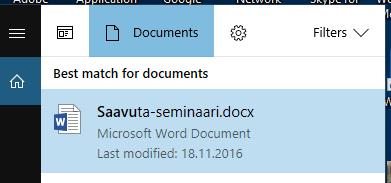 Hakutuloksien documents-painike.