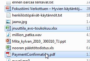 usean erillisen tiedoston valinta Ctrl-painikkeella.