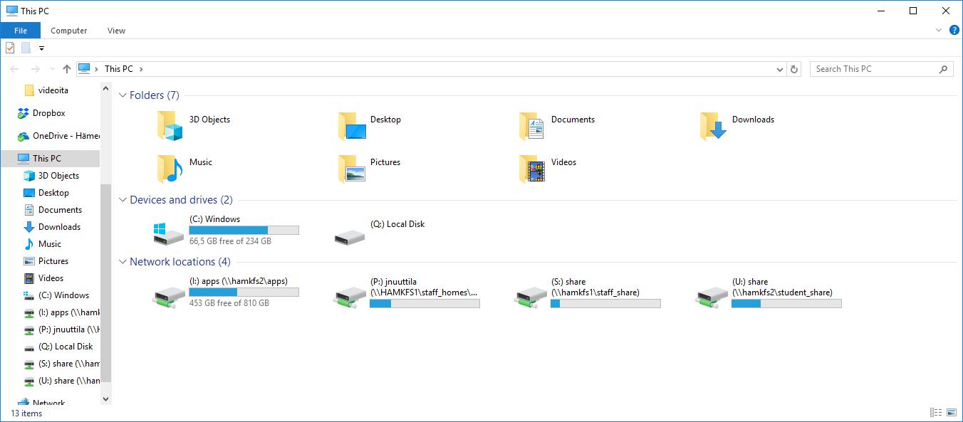 File Explorer näkymä.