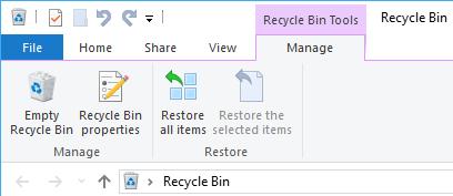 Recycle Bin Tools. välilehdellä oleva Restore all items -painike.