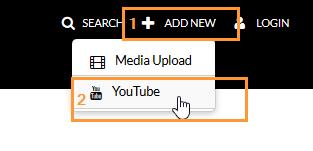 Add New -valikosta löytyvä YouTube-painike.