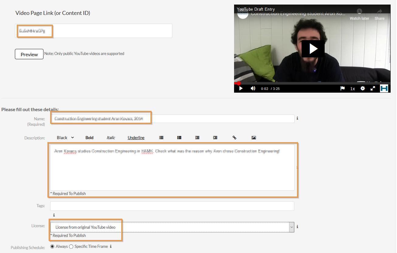 YouTube video ja sen tietojen esikatselu Kalturassa.