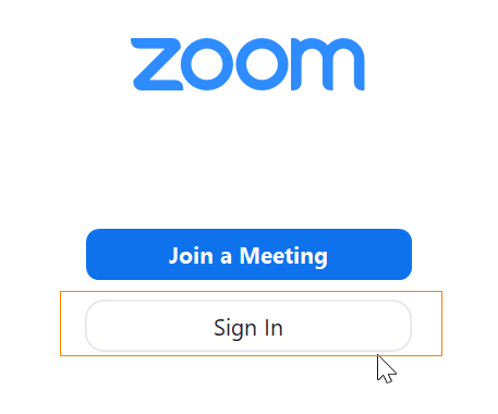 zoom, Sign in -painike.