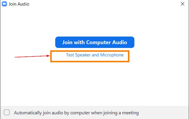 Join audio näkymä, jossa on Test Speaker and Microphone -painike.