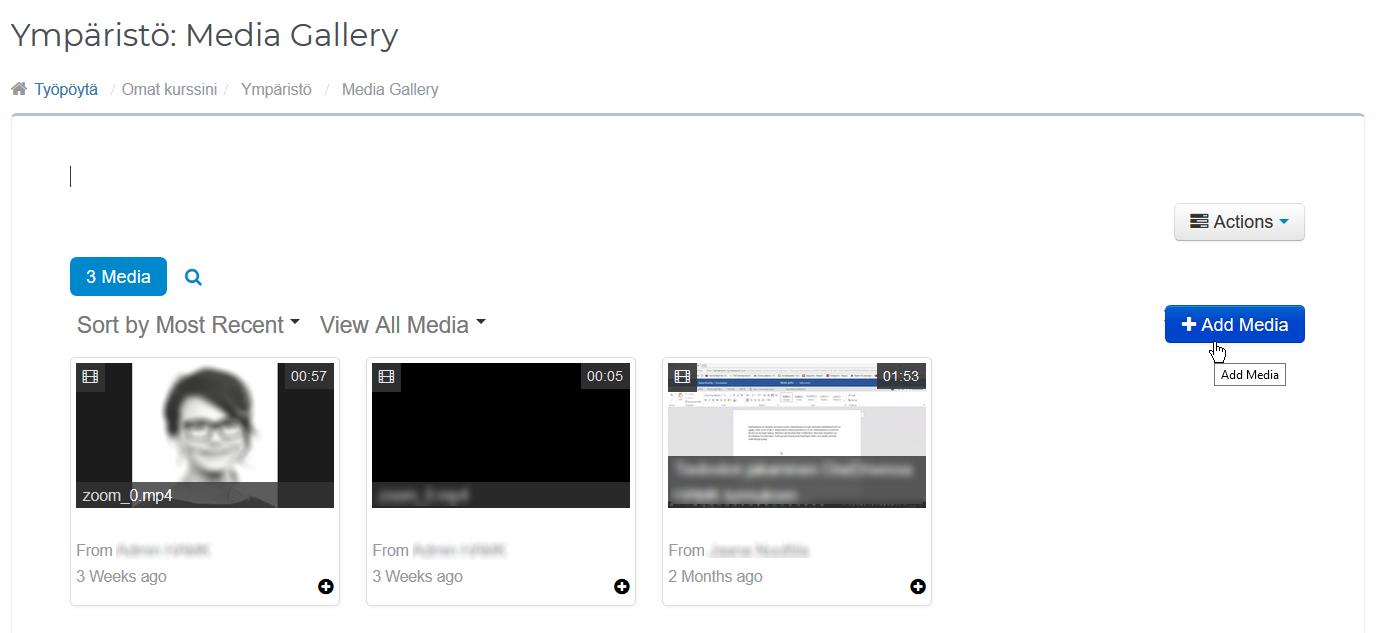 Media Galleryn Add Media -painike.