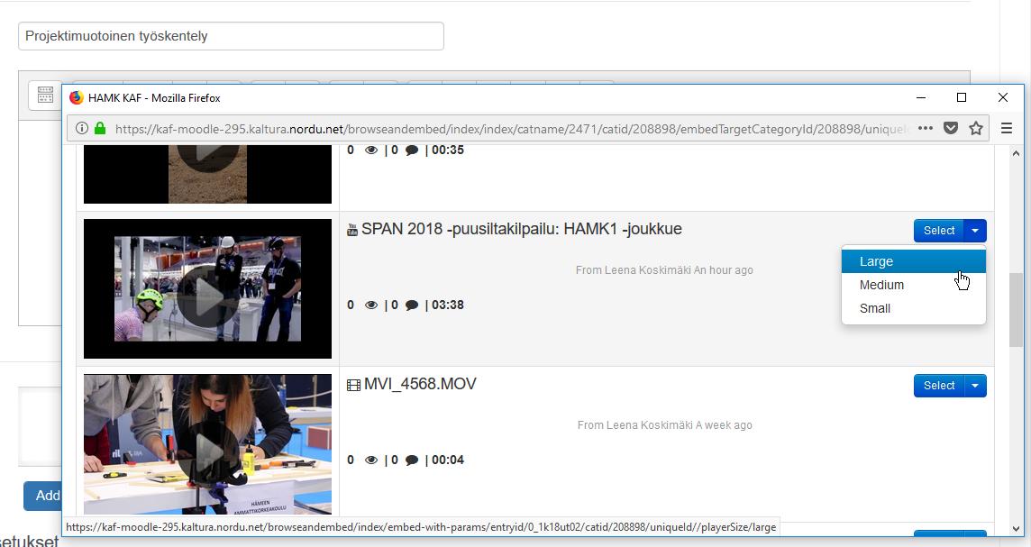 Videoita My Media -listassa. Jokaisella videolla on Select-painike.