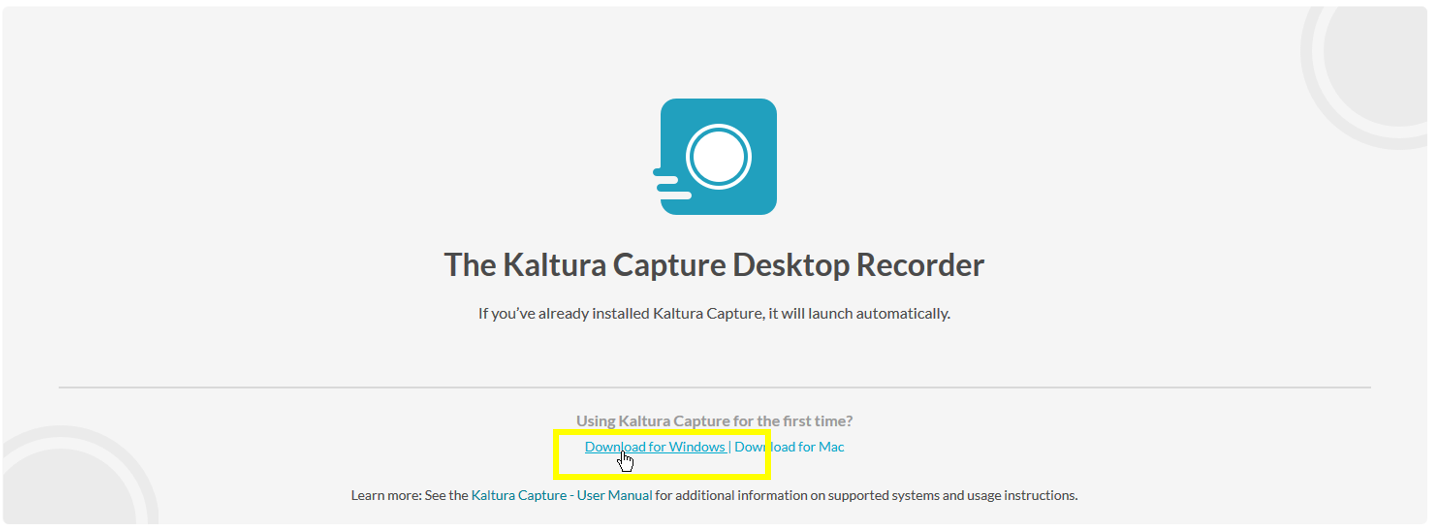Download for Windows -linkki, jolla ladataan Kaltura Capture Desktop Recorder.