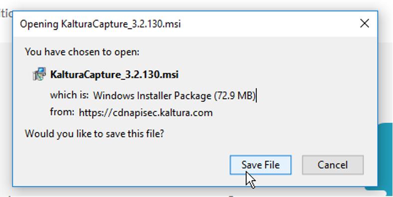 Save File -painike, jolla ladataan KalturaCapture tiedosto tietokoneelle.