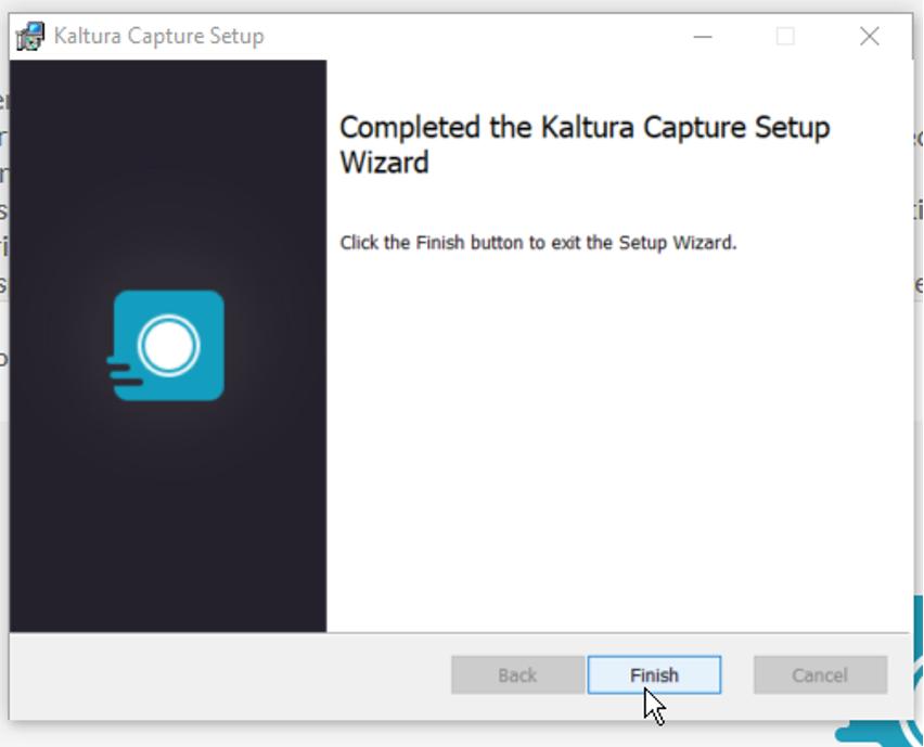 Kaltura Capture Setupin Finish-painike.