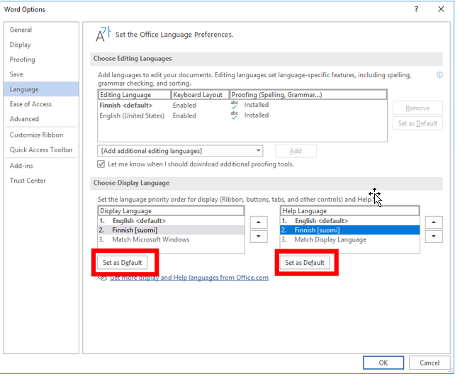 Display Language ja Help Language asetettu suomeksi. Molempien asetusten alla on Set as Default -painike.