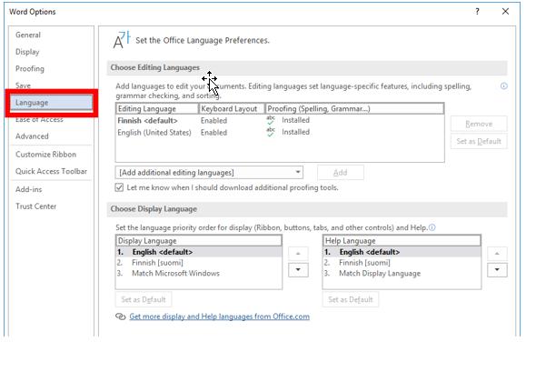 Word Options näkymän Language-välilehti.