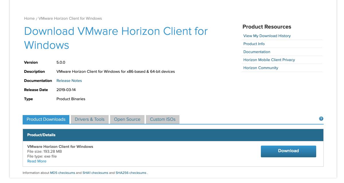VMware Windows version lataussivu. Sivulla on Download-painike.