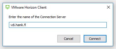 Connection server tekstikenttä, jossa on vdi.hamk.fi -osoite.