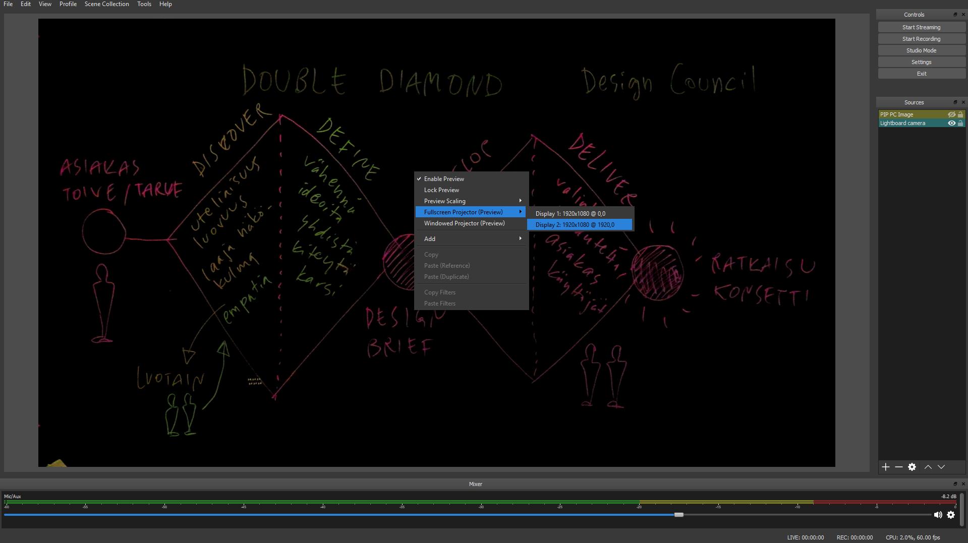 Lightboard ja sen Fullscreen Projector -asetus.