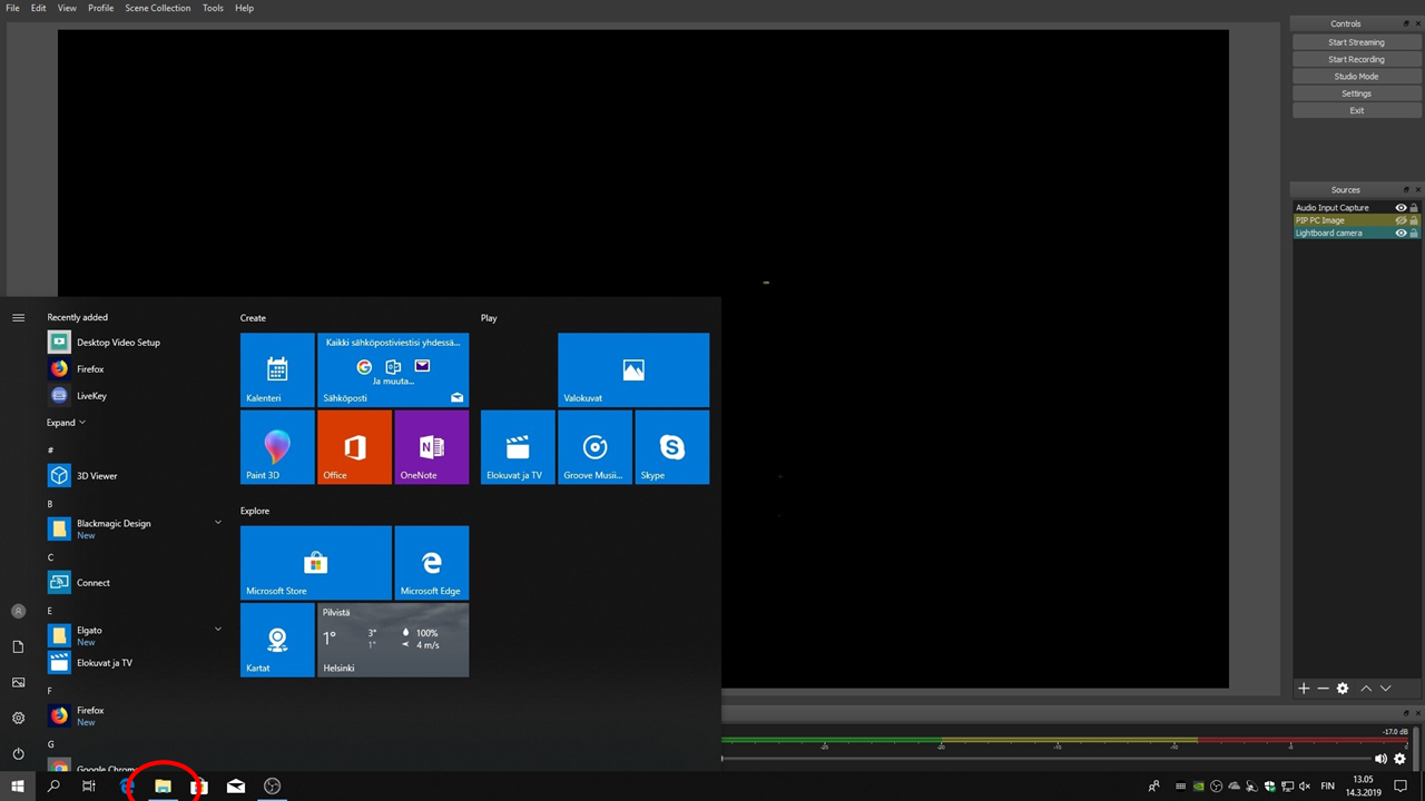 Windowsin tehtäväpalkissa sijaitseva File explorer.