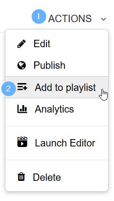 Actions-painikkeen alla oleva Add to playlist -painike.