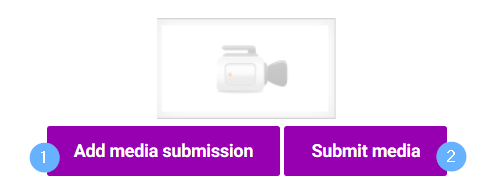 Kaltura media assignment, Add media subission -painike vasemmalla, submit media -painike oikealla.
