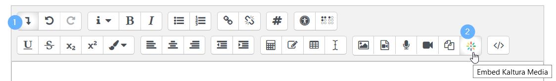 kaltura text editor embed kaltura media -painike.