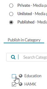 Videon julkisuus- ja kategoria-asetukset.