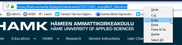 Kalturan URL-osoitteen kopioiminen.