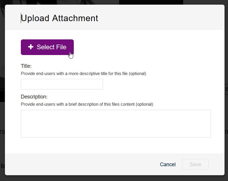 Upload Attachment näkymässä oleva Select File -painike.