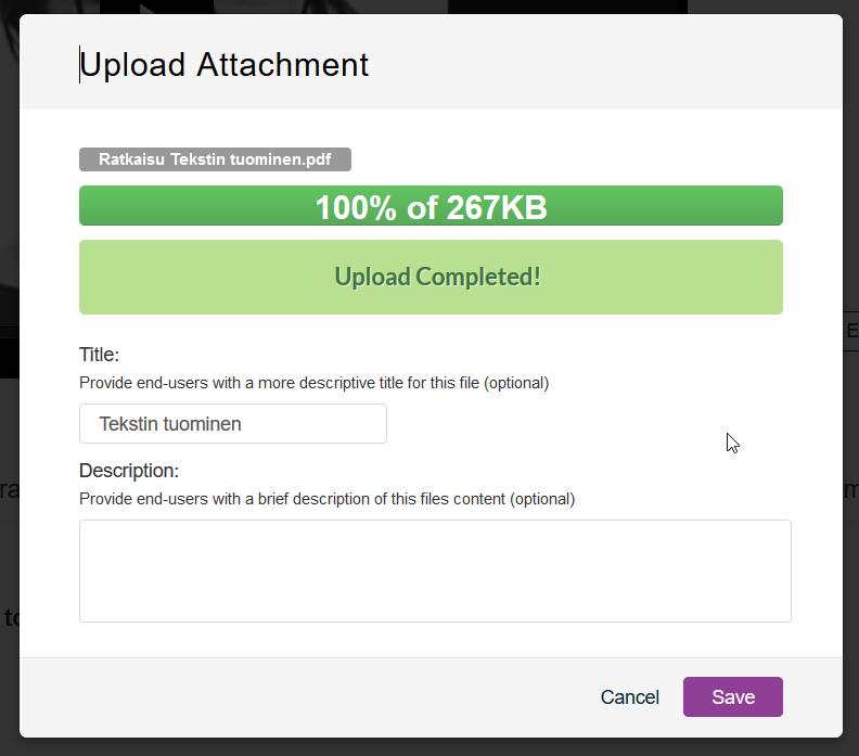 Upload Attachment, kun lataus on valmis.