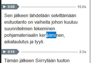 SOM tekstityksen muokkaus alue.
