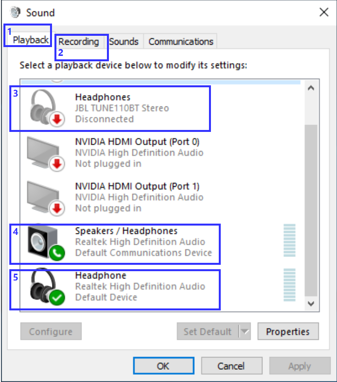 Windowsin ääniasetukset.