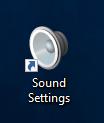 sound Settings -pikakuvake tietokoneen työpöydällä.