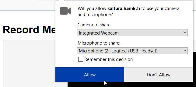 Kaltura, mikrofonin ja kameran käytön lupapyyntö selaimessa.