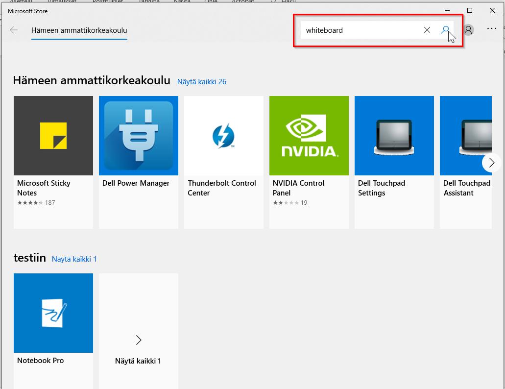 ohjelman hakeminen Microsoft Storesta