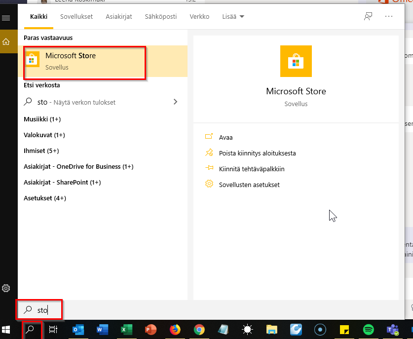 Microsoft Storen etsiminen koneelta