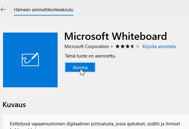 Microsoft Whiteboardin asennusnäkymä ja Asenna-painike.