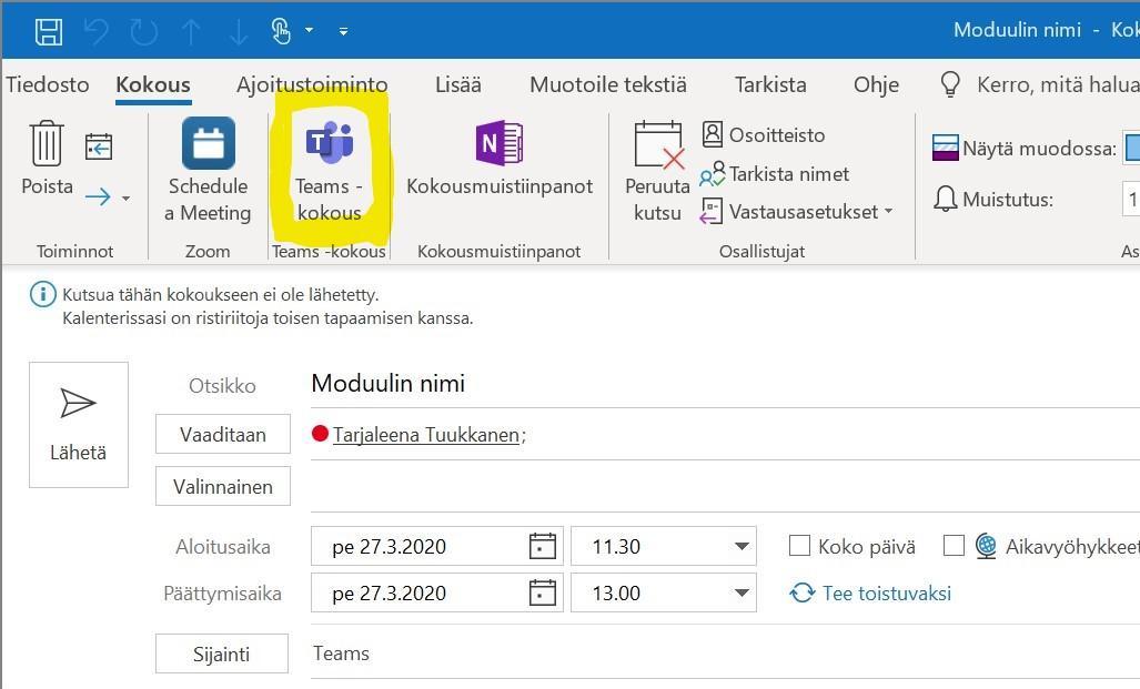 Outlook, Teams-kokous -painike.