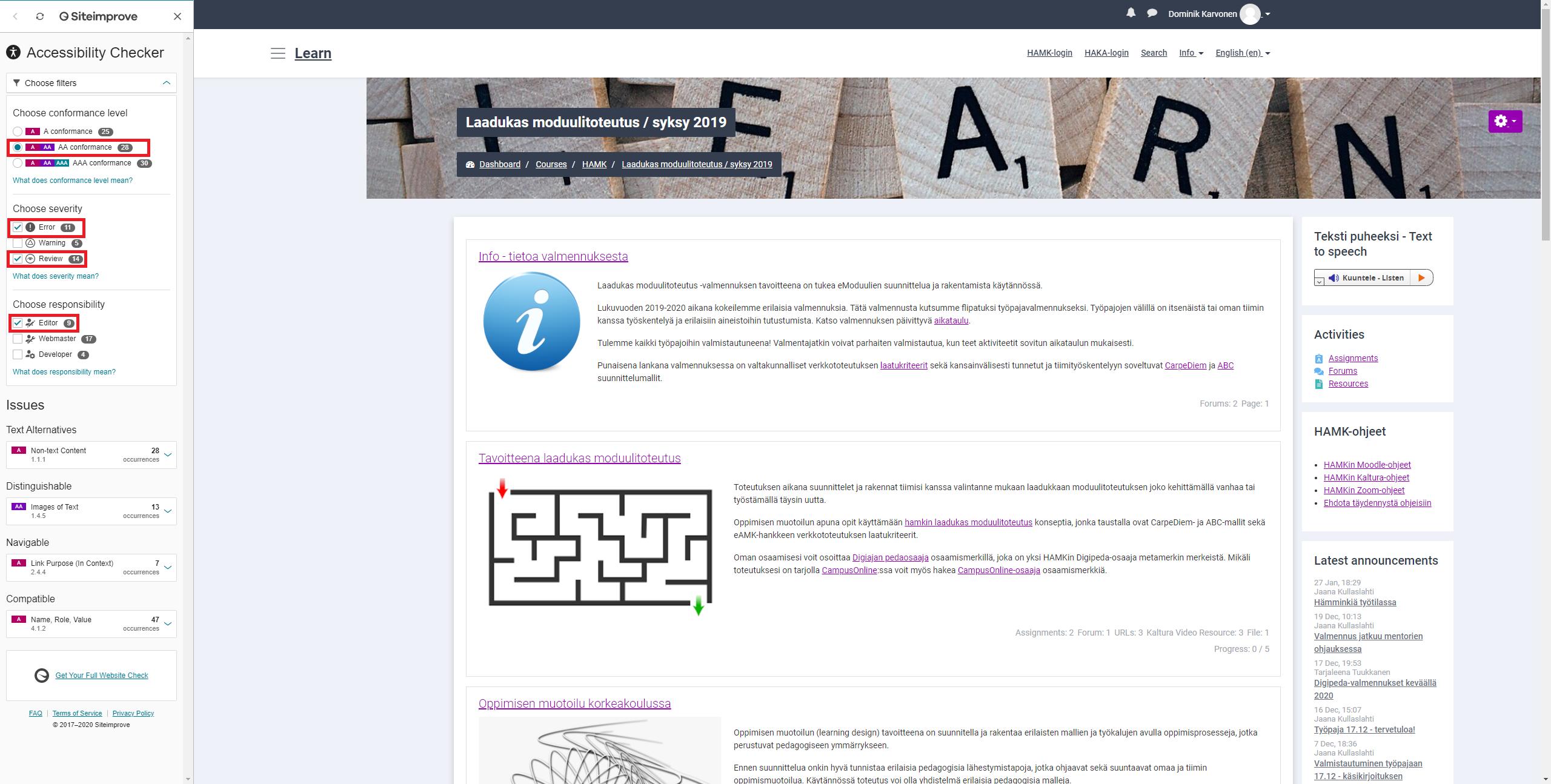 Accessibility Checker käytössä Moodle-sivulla. Filttereinä on käytössä AA conformance. Severityyn on valittuna Error ja Review. Responsibilityyn on valittuna Editor.