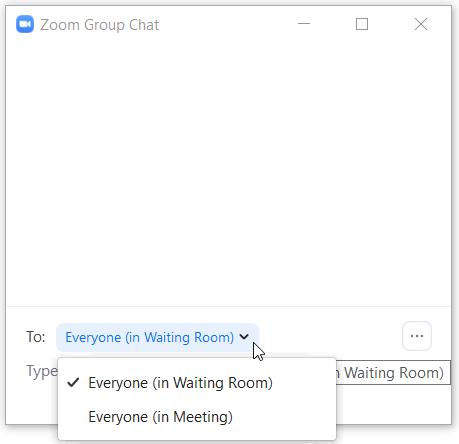 Chat-ikkunan To: kohdasta voi valita meneekö viesti kokouksen jäsenille, vai odotushuoneessa oleville osallistujille.