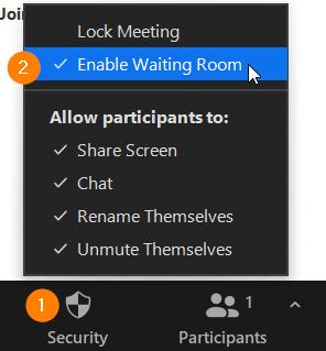 Security valikossa oleva Enable Waiting Room -painike.