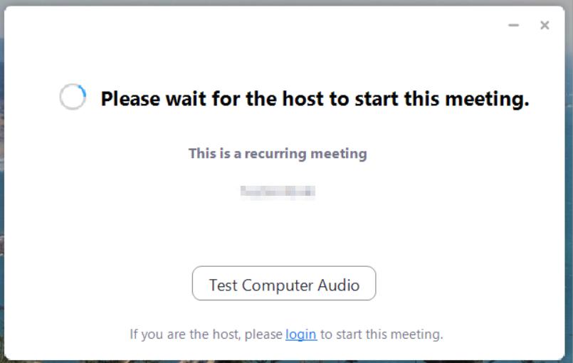 Näkymä, joka kehottaa käyttäjää odottamaan kokouksen alkamista.