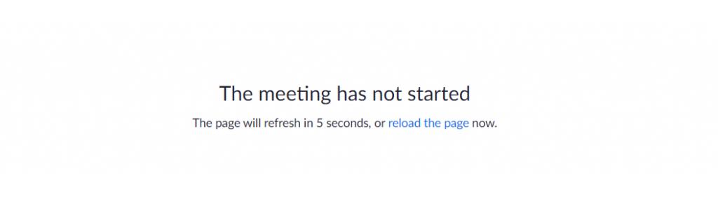 Selaimen näkymä, joka kehottaa käyttäjää odottamaan kokouksen alkamista.