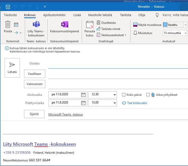 Outlook näkymä, johon voi lisätä kokouksen tarpeelliset tiedot, kuten osallistujat.