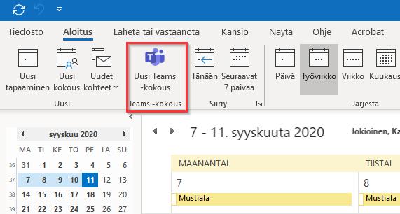 Uusi Teams kokous -painike Outlookissa.