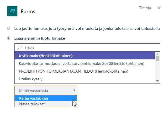 Näkymä, jossa voi joko luoda jaetun lomakkeen tai lisätä aiemmin luotu lomake.