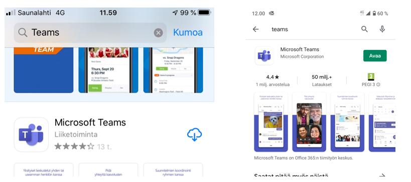 Teams-sovellus Applen Appsoressa ja Google play storessa.