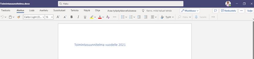 Word-tiedosto auki Teamsissä.