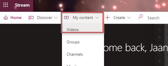My content -painikkeen alla oleva Videos-painike.