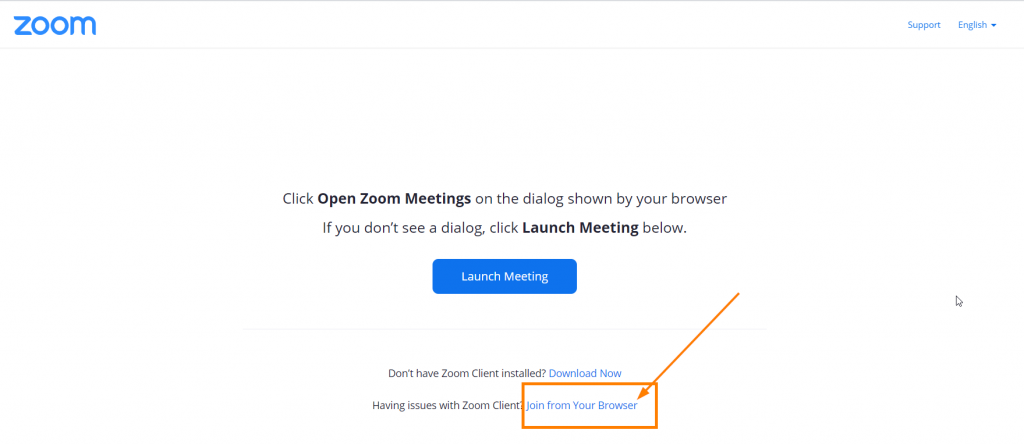 Zoom join from browser