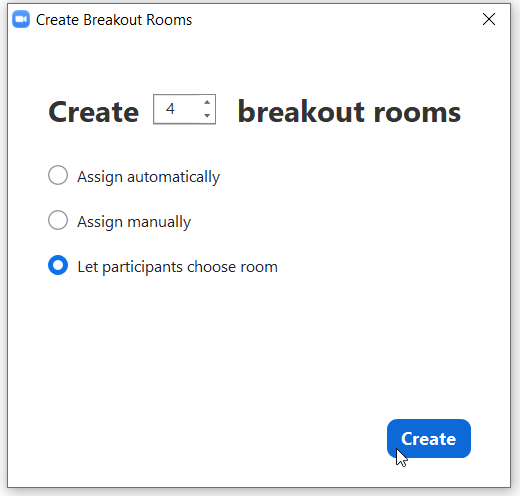 Zoom breakout room self selection