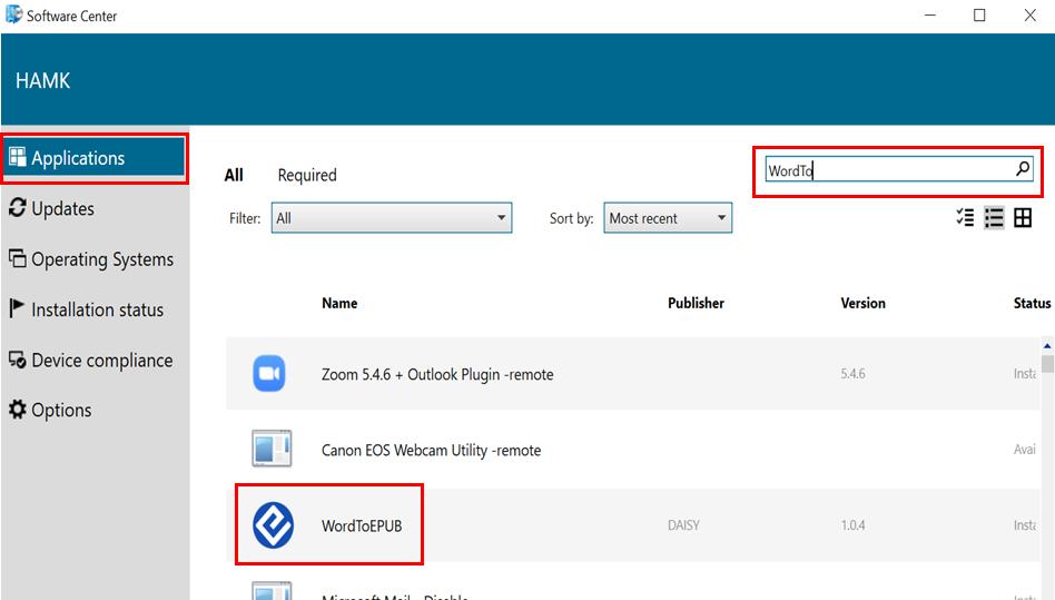 WordToEPUB sovellus löytyy Software Centeristä Applications välilehdeltä.