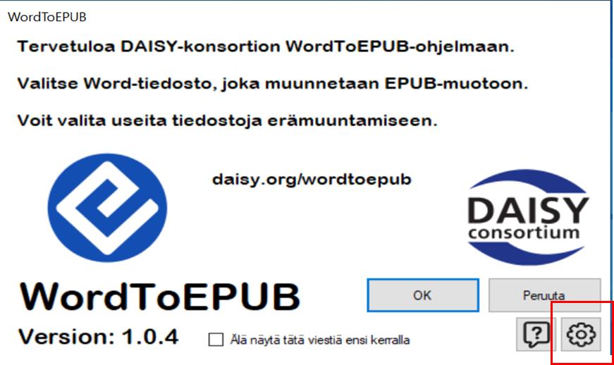 WordToEPUB-ohjelman asetukset löytyvät ratas-kuvakkeen takaa, joka sijaitsee ohjelmaikkunan oikeassa alakulmassa.