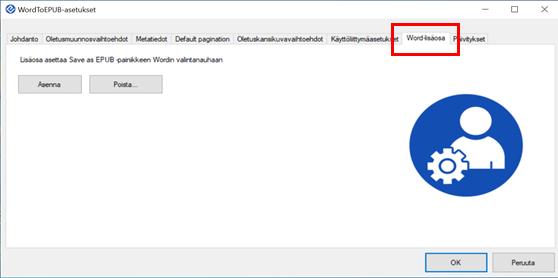 Word-lisäosa välilehdeltä voit valita EPUB-painikkeen lisäämisen Word-ohjelman valintanauhaan.